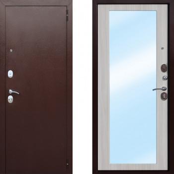 Входная железная дверь СТОП Царское зеркало Макси Белый Ясень (входные двери с зеркалом)