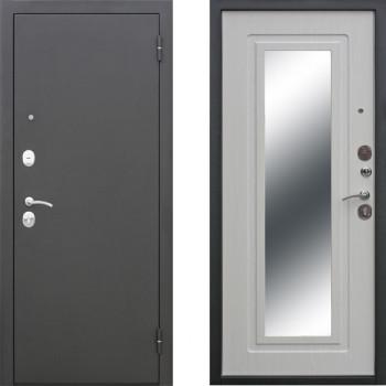 Входная дверь с зеркалом СТОП Муар Зеркало Ясень Белый