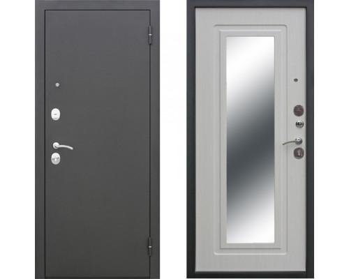 Входная дверь с зеркалом СТОП муар Зеркало Ясень Белый (двери с зеркалом)