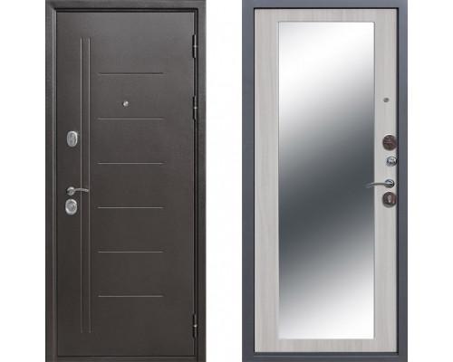 Входная стальная дверь Троя с зеркалом Макси Белый ясень