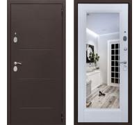 Входная дверь с зеркалом СТОП Альт зеркало Белый Ясень (входные двери с зеркалом)