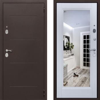 Металлическая дверь СТОП Альт зеркало Белый Ясень