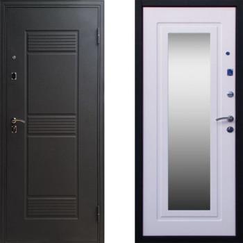 Дверь входная СТОП Стандарт с зеркалом Беленый Дуб