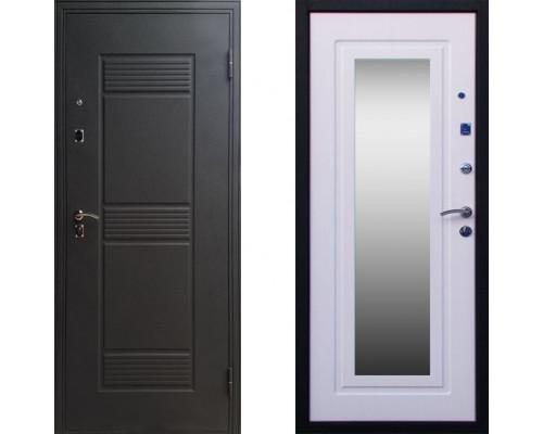 Дверь входная с зеркалом СТОП Стандарт с зеркалом Белый Ясень
