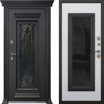Металлическая дверь АСД Гранд Люкс со стеклом и ковкой