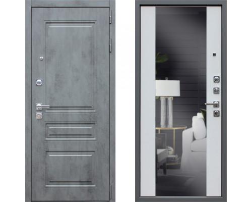 Дверь входная с зеркалом АСД Лира с зеркалом Белый Матовый (входные двери с зеркалом)