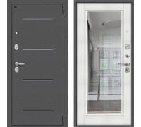 Металлическая дверь Браво Оптим Флеш с зеркалом Бьянка Вералинга с зерклаом