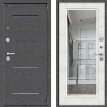 Входная зеркальная дверь с зеркалом Браво Оптим Флеш с зеркалом Бьянка Вералинга (двери с зеркалом в квартиру)