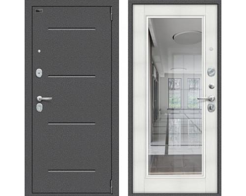 Металлическая дверь Браво Porta S 104/П61 Флеш с зеркалом Бьянка Вералинга