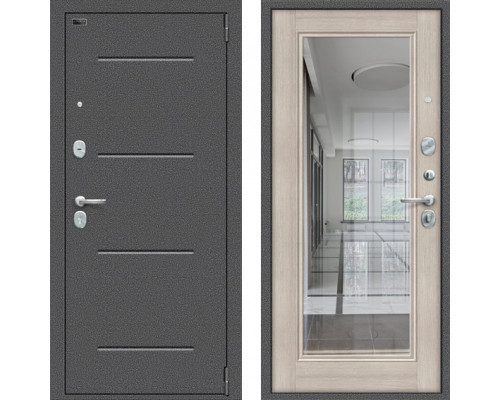 Входная дверь Браво Porta S 104/П61 (Флеш) с зеркалом Капучино