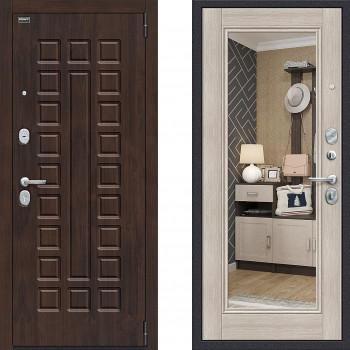 Входная металлическая дверь Браво Оптим Урбан с зеркалом Капучино