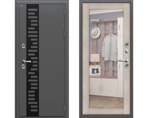 Входная металлическая дверь Браво Термо 220 с зеркалом Капучино (уличная дверь с терморазрывом)