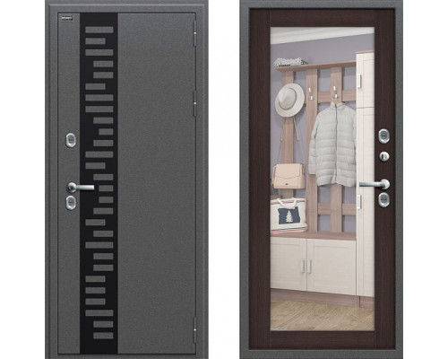 Непромерзающая металлическая дверь Браво Термо 220 с зеркалом Венге (уличная дверь с терморазрывом)