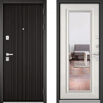 Металлическая дверь Бульдорс Премиум с зеркалом Ларче Темный Шамбори Светлый