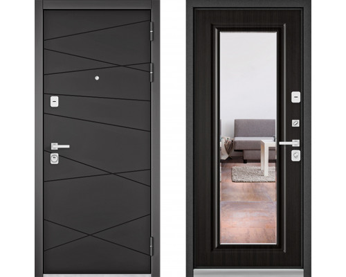 Металлическая дверь Бульдорс Премиум с зеркалом Графит Софт Ларче Темный