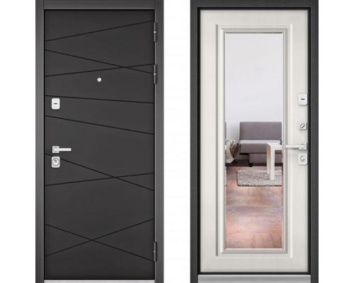 Металлическая дверь Бульдорс Премиум с зеркалом Графит Софт Шамбори Светлый