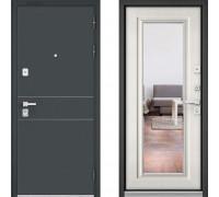 Металлическая дверь Бульдорс Премиум Черный Шелк D-14 с зеркалом Шамбори Светлый