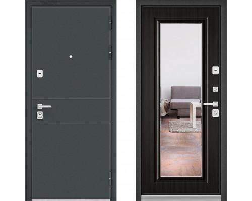 Металлическая дверь Бульдорс Премиум Черный Шелк D-14 с зеркалом Ларче Темный