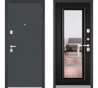 Металлическая дверь Бульдорс Премиум Черный Шелк с зеркалом Ларче Темный