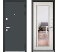 Металлическая дверь Бульдорс Премиум Черный Шелк с зеркалом Шамбори Светлый
