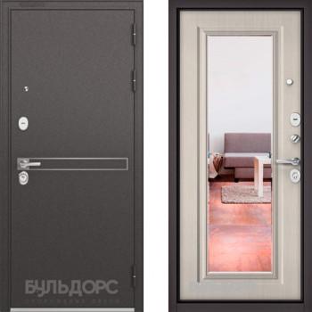 Металлическая дверь Бульдорс STANDART-90 Черный шелк D-4/Ларче бьянка с зеркалом