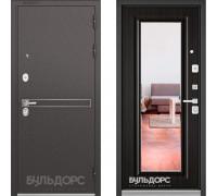 Металлическая дверь Бульдорс STANDART-90 Черный шелк D-4/Ларче шоколад с зеркалом