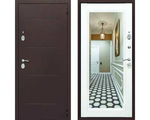 Входная дверь с зеркалом СТОП Альт зеркало Белый Матовый (входные двери с зеркалом)