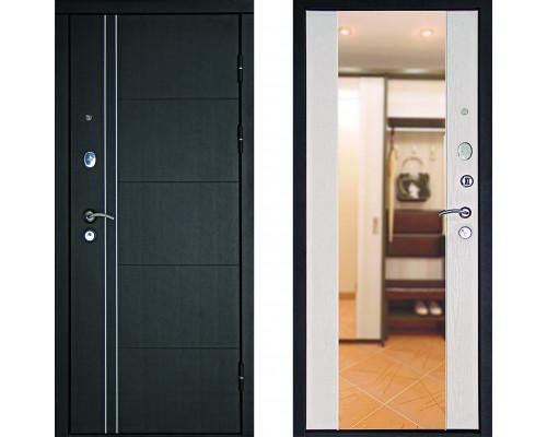 Зеркальная входная дверь с зеркалом Дверной Континент Тепло Люкс с зеркалом Беленый Дуб (дверь с зеркалом)