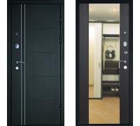 Зеркальная входная дверь с зеркалом Дверной Континент Тепло Люкс с зеркалом Венге (дверь с зеркалом)