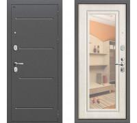 Металлическая дверь Грофф Р2-206 с зеркалом Беленый Дуб