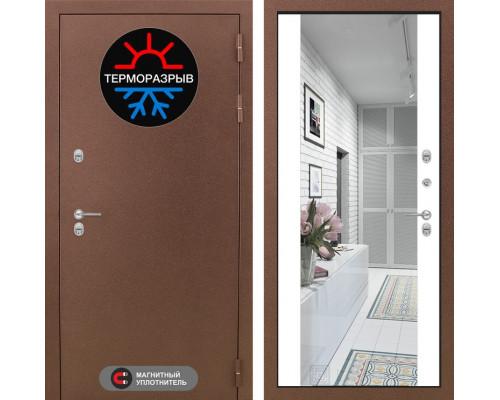 Входная дверь с терморазрывом Labirint Термо Магнит с Зеркалом Максимум Белый софт (двери с терморазрывом)