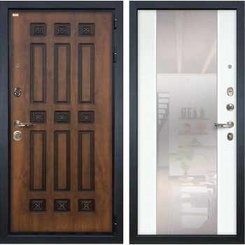 Входная металлическая дверь Лекс Гладиатор 3К Винорит Стиль с Зеркалом Ясень белый (панель №61)