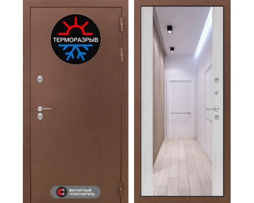 Входная дверь с терморазрывом Labirint Термо Магнит с Зеркалом Максимум Сандал белый (двери с терморазрывом)