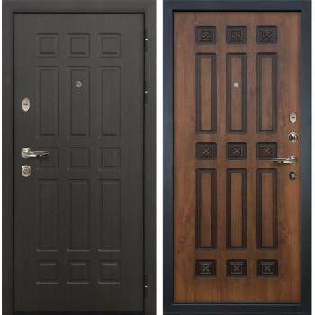 Входная металлическая дверь Лекс 8 Сенатор Голден патина черная (панель №33)