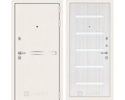 Входная дверь Лайн WHITE 01 Сандал белый, стекло белое