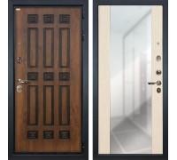 Входная металлическая дверь Лекс Гладиатор 3К Винорит Стиль с Зеркалом Белёный дуб (панель №45)