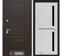 Входная дверь Labirint Мегаполис 02 - Сандал белый, стекло черное