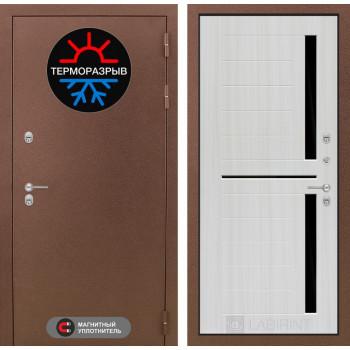 Входная дверь с терморазрывом Labirint Термо Магнит 02 Сандал белый, стекло черное (уличная дверь с терморазрывом)
