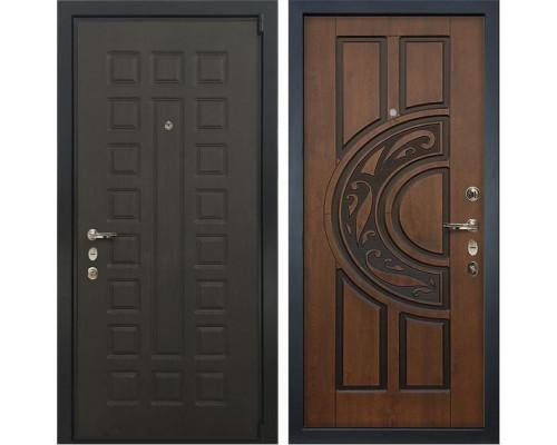 Входная металлическая дверь Лекс 4А Неаполь Mottura Голден патина черная (панель №27)