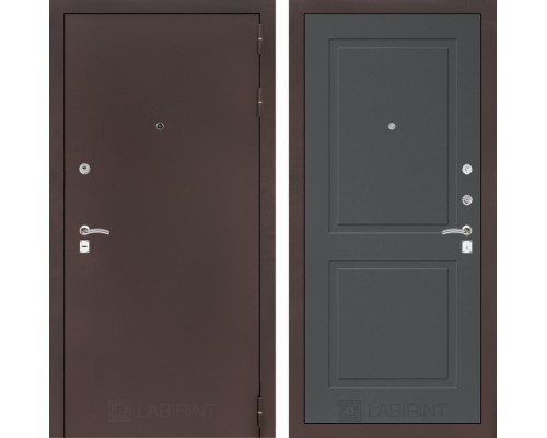 Входная дверь Labirint CLASSIC антик медный 11 - Графит софт