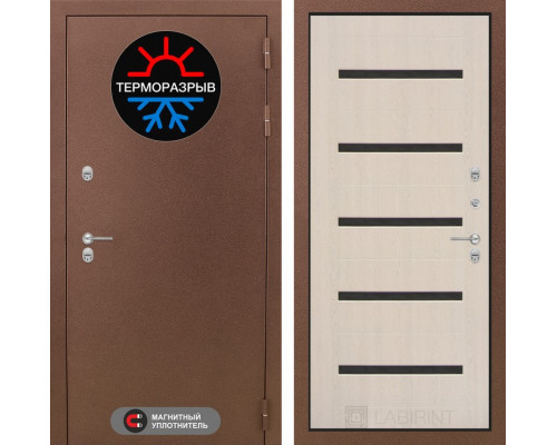 Дверь с терморазрывом Labirint Термо Магнит 01 Беленый дуб, стекло черное