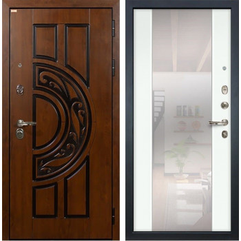 Входная металлическая дверь Лекс Спартак Cisa Стиль с Зеркалом Ясень белый (панель №61)