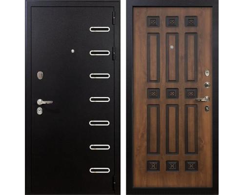 Входная металлическая дверь Лекс Витязь Голден патина черная (панель №33)