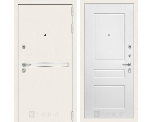 Входная белая дверь в квартиру Labirint Лайн WHITE 03 Белый софт (белые двери для квартиры)