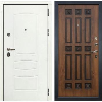Входная дверь Лекс Сенатор 3К Шагрень белая (№33 Голден патина черная)