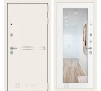 Входная дверь Labirint Лайн WHITE с Зеркалом 18 - Белое дерево
