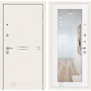Входная зеркальная дверь Labirint Лайн WHITE с Зеркалом 18 - Белое дерево