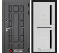 Входная дверь Labirint Нью-Йорк 02 - Сандал белый, стекло черное