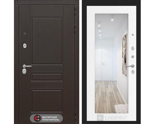 Входная дверь Labirint Мегаполис с Зеркалом 18 - Белое дерево
