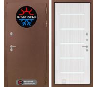 Входная дверь с терморазрывом Labirint Термо Магнит 01 Сандал белый, стекло белое